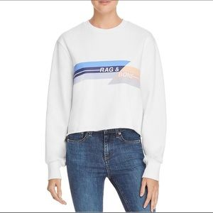 Rag and bone Womens Raw Hem Cropped Sweatshirt